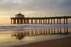 Manhattan- Beachpier-bunter Sonnenuntergang Lizenzfreies Stockbild