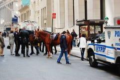 Manhattan-berittene Polizei im Ruhezustand Lizenzfreie Stockfotografie