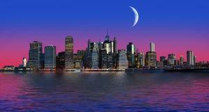 Manhattan bij maanlicht Stock Afbeelding