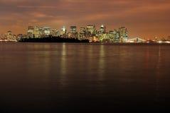 Manhattan bij Nacht Royalty-vrije Stock Afbeelding