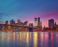 Manhattan bij schemer Royalty-vrije Stock Foto