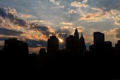 Manhattan bij zonsondergang Royalty-vrije Stock Afbeelding