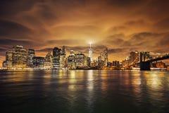 Manhattan bij zonsondergang Stock Fotografie