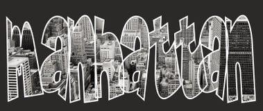 Manhattan binnen tekst op zwarte achtergrond Stock Foto's