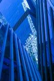 Manhattan in blue. Blue office building in Manhattan, New York city Stock Image