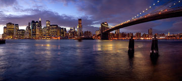 Manhattan Blues. A night scene from Brooklyn, with stunning views of Manhattan Royalty Free Stock Photo