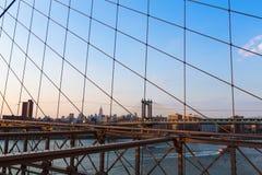 Manhattan-Brücke von der Brooklyn-Brücke New York Stockbild