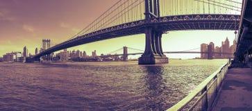 Manhattan-Brückenpanorama bei Sonnenuntergang New York City Lizenzfreie Stockbilder