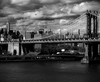 Manhattan bridge. New York city skyline with focus on Manhattan Bridge over the East River Stock Photos