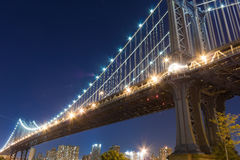 Manhattan Bridge. At night viewed from Fulton ferry state park Stock Image