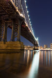 Manhattan Bridge. At night viewed from Fulton ferry state park Stock Photos