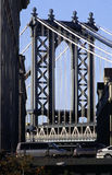 Manhattan Bridge NYC USA. Manhattan Bridge view looking North along Washington Street, Dumbo, Brooklyn, New York royalty free stock photo