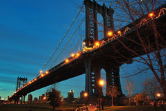 Manhattan Bridge. The towers of the Manhattan Bridge in New York City Stock Image