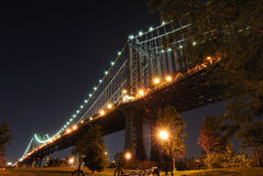 Manhattan Bridge. From Fulton Ferry in Brooklyn, New York City Stock Photo