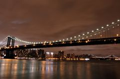 Manhattan bridge. And skyline at night royalty free stock image