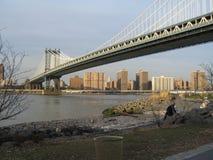 Manhattan bridge. As seen from brooklyn stock images