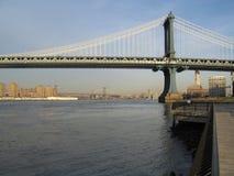 Manhattan bridge. And east river stock photography