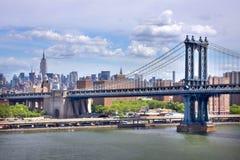 Manhattan Bridge. View of the Manhattan Bridge and Manhattan skyline stock photos
