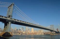 Manhattan Bridge. Manhattan Bridge against a clear blue sky Royalty Free Stock Photography