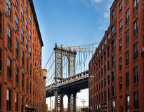 Manhattan Bridge from an alley Stock Photo