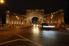 Manhattan Bridge Arch at night. Stock Image