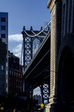 Manhattan Bridge as seen from along a Brooklyn Borough Street. Royalty Free Stock Images