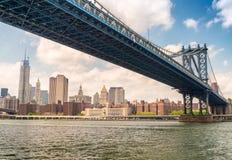 The Manhattan Bridge as seen from underneath, New York City.  stock photo