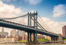 The Manhattan Bridge as seen from underneath, New York City stock photo