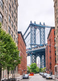 The Manhattan Bridge from Brooklyn  district, NYC Royalty Free Stock Images