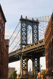 Manhattan Bridge at Brooklyn street New York US Stock Images