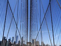 Manhattan Bridge cables and skyline #1 Stock Image