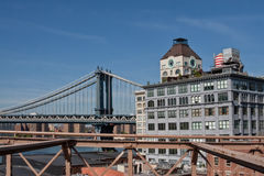 Manhattan Bridge and Clock Tower Penthouse, New York ,NY, view from Brooklyn Royalty Free Stock Photo