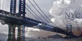 Manhattan Bridge with Clouds Royalty Free Stock Photos