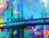 Manhattan Bridge. Colorful painting. Manhattan bridge. New York downtown Royalty Free Stock Photo