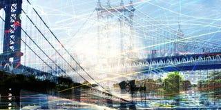 NYC Composition. Manhattan bridge composition. 3D rendering Stock Images