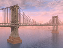 Manhattan Bridge. Computer generated 3D illustration with the Manhattan Bridge in New York City Royalty Free Stock Photos