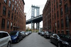 Manhattan Bridge. Is coordinated with the buildings Royalty Free Stock Image