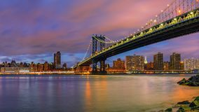 Manhattan bridge and Manhattan at dusk Stock Photo