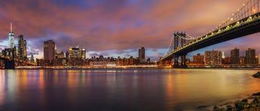 Manhattan bridge and Manhattan at dusk royalty free stock photography