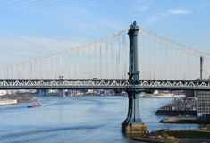 Manhattan Bridge and East River Stock Image