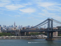 The Manhattan Bridge & East River in New York. The Manhattan Bridge crossing the East River in New York City. Central Manhattan is visible in the background Stock Photos