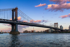 Manhattan Bridge and the East River at sunset. New York City Stock Image