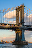 Manhattan Bridge east tower at sunset. New York City Stock Photo