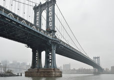 Manhattan Bridge in a fog. Royalty Free Stock Image