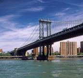 Manhattan Bridge. Fragment of the Manhattan Bridge against a blue sky Stock Images