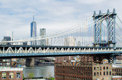 Manhattan Bridge, The Freedom Tower and NY by Gehry Building. Royalty Free Stock Photo