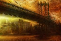 Manhattan Bridge. Painterly Landscape. 3D rendering Stock Photos