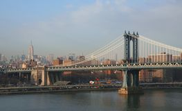 Manhattan Bridge and Midtown Manhattan. Buildings Royalty Free Stock Images