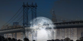 Manhattan Bridge with Moon Royalty Free Stock Image
