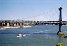 Manhattan Bridge New York USA. Manhattan Bridge crossing from Brooklyn royalty free stock photo